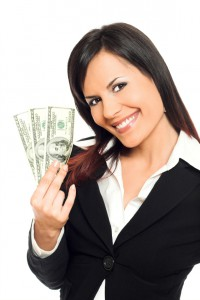 Business woman with money