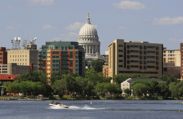 Closeup of  Downtown Madison Wisconsin, from Lake Monona